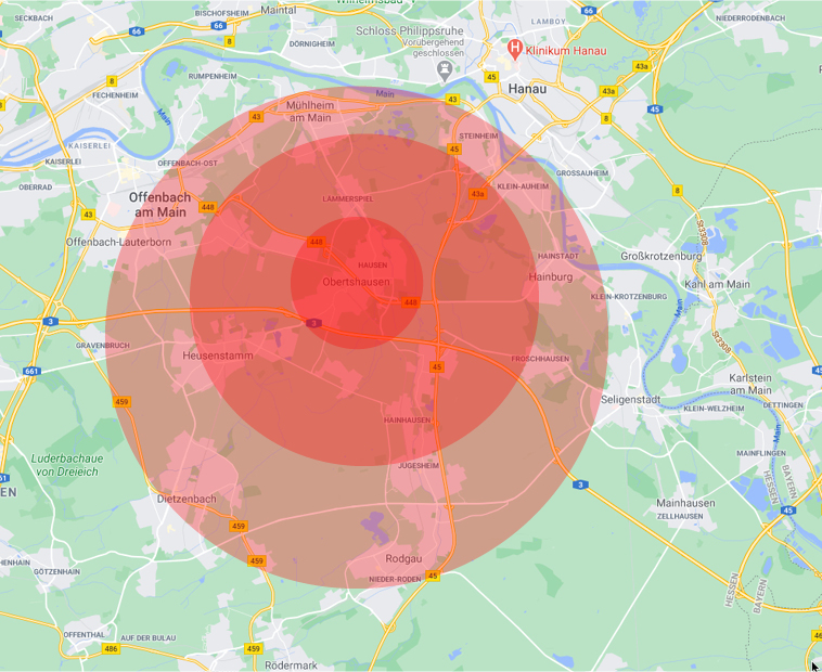 das Einsatzgebiet des Pflegedienstes Obhut auf einer Karte